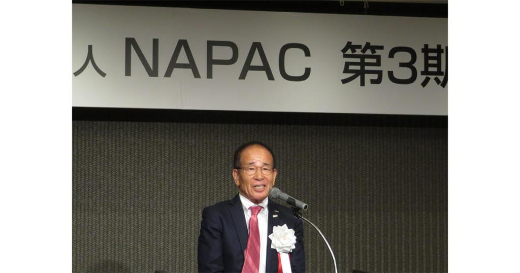 2019年第3期総会記念懇親会で挨拶する高瀬嶺生新会長