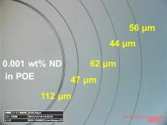 ナノダイヤ摩擦試験後のディスク摩耗痕の光学顕微鏡写真(右)