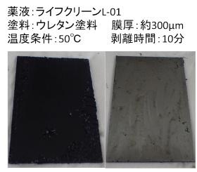 塗膜剥離(左:コートなし 右:コートあり)